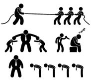 Business Worker Fighting Pictogram. A set of pictogram representing business workers fighting each other Royalty Free Stock Photo