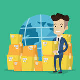 Business worker of international delivery service. Businessman holding box on the background of world map and packages. Man working in international delivery Stock Photos