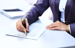 Business worker signing Royalty Free Stock Photo