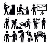 Business and worker. Vector black business and worker icon set Royalty Free Stock Images