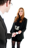 Business workers exchanging business cards Stock Image