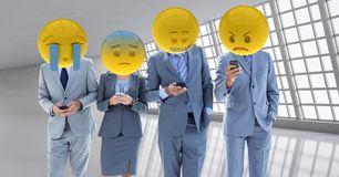 Free Business Workers Receiving A Bad Notice . Emoji Heads. Stock Photography - 90345482