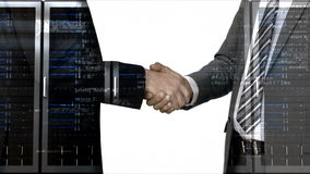 Business workers shaking hand with server tower overlay stock video footage