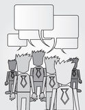 Business Workers Speech Bubbles BW Royalty Free Stock Photography