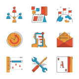 Business workflow line icons set stock illustration