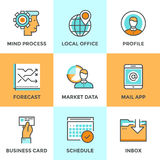Business workflow line icons set Royalty Free Stock Image