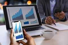 Business working graph financial Data Analytics Statistics In royalty free stock photos