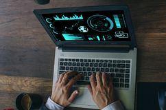 Business concept. Businessman working generic design laptop. Tou stock image
