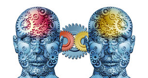 Business Working Relationship. With two human heads sharing creative ideas made of gears and cogs representing business people in partnership cooperating Stock Images
