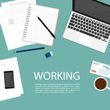 Business working space top view notebook vector. Hold paper document business hand top vector n Stock Photos