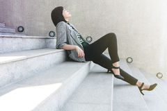 Business Working Woman sit on stair in sexy relaxation posture,. Closed eyes and thinking for solution or success in life and work, side view Stock Photos