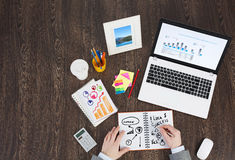 Business workplace with business stuff Royalty Free Stock Photos