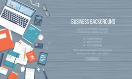 Business Workplace Desktop background. Top view of table, laptop, folder, notepad, business card, purse. Place for text. Vector Top view Royalty Free Stock Photo