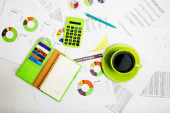 Business workplace with financial reports Stock Photography