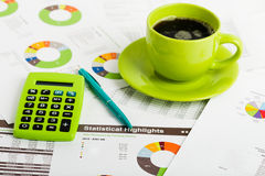 Business workplace with financial reports Stock Photos