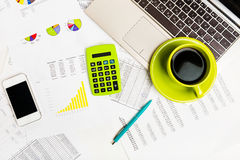 Business workplace with financial reports Royalty Free Stock Photography