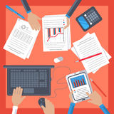 Business workplace with hand, notebook, tablet. Top view of business workplace with people hand, notebook, digital tablet, documents and office stationery on Stock Photos