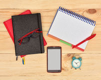 Business workplace with note pad Stock Photos
