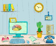 Business workplace office interior desk. With computer cactus phone files and documents hand drawn  vector illustration sketch Stock Image
