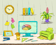 Business workplace office interior desk. With computer stationery supplies files and documents hand drawn  vector illustration sketch Royalty Free Stock Photo