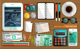 Business workplace with office things Stock Photo