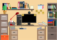 Business workplace with office things, equipment, objects. Stock Image