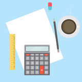 Business Workplace with papers, calculator, pencil, ruler, eraser and coffee. Stock Photos