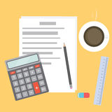 Business Workplace with papers, calculator, pencil, ruler, eraser and coffee. Work Accounting table. Office desktop. Royalty Free Stock Photography