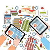 Business Workplace Top View, Businesspeople Work Process With Diagrams And Documents, Hands Holding Digital Tablets And. Laptop Vector Illustration Royalty Free Stock Photos