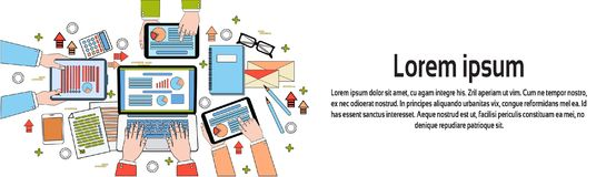 Business Workplace Top View, Businesspeople Work Process, Diagrams And Documents, Hands Using Digital Tablets And Laptop. Horizontal Banner With Copy Space Royalty Free Stock Photography