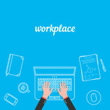 Business workplace with white thin line items Royalty Free Stock Image