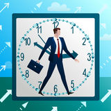Business works like clock-work. Successfully and accurately, stable growth, round the clock. Vector illustration. Concept Stock Photography