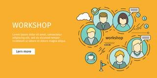 Business Workshop Banner. Team building, workshop, training skill, develop ability, expertise, business people teamwork, personal development growth, team stock illustration
