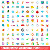 100 business workshop icons set, cartoon style. 100 business workshop icons set in cartoon style for any design vector illustration Royalty Free Stock Image