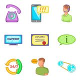 Business workshop icons set, cartoon style. Business workshop icons set. Cartoon set of 9 business workshop vector icons for web isolated on white background Royalty Free Stock Images