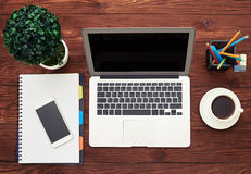 Business workspace with cup of coffee Stock Photo