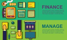 Business workspace and equipment concept banner set, finance manage vector illustration royalty free stock image