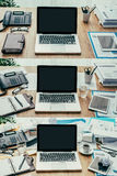 Business workspace. Set of business desktops and workspace types, from clean and organized to cluttered and messy, productivity and deadlines concept, point of Royalty Free Stock Photo