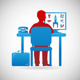 Business Workspace Symbol Businessman at Work Icon Design Template Vector Illustration Stock Image
