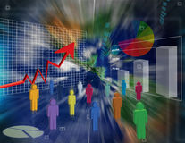 Business world. Illustration of Spreadsheet data and business charts around the world Royalty Free Stock Images