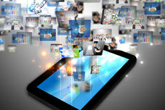 Business world. On tablet pc Stock Photography