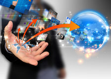 Business world. Businessman holding business world,business comunication concept Stock Photo