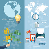 Business world concept money transfer transactions banners Royalty Free Stock Photos