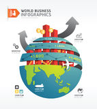 Business world infographic concept design template.vector. Business globe infographic concept design template.vector Royalty Free Stock Image