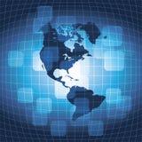 Business World Map Background. 3D Blue Business World Map Background - Vector Illustration Stock Photo