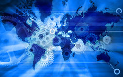 Business World Map Technology Background Stock Image