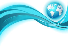 Business world map wave background. In blue color Stock Image