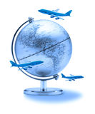 Business World Travel Globe Airplanes. Airplanes flying around a globe showing North and South America royalty free stock photography