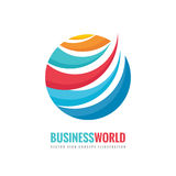 Business world - vector logo template concept illustration. Circle and abstract shapes sign. Colored globe symbol.  Stock Image