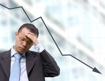 Business worries with graph Stock Photography